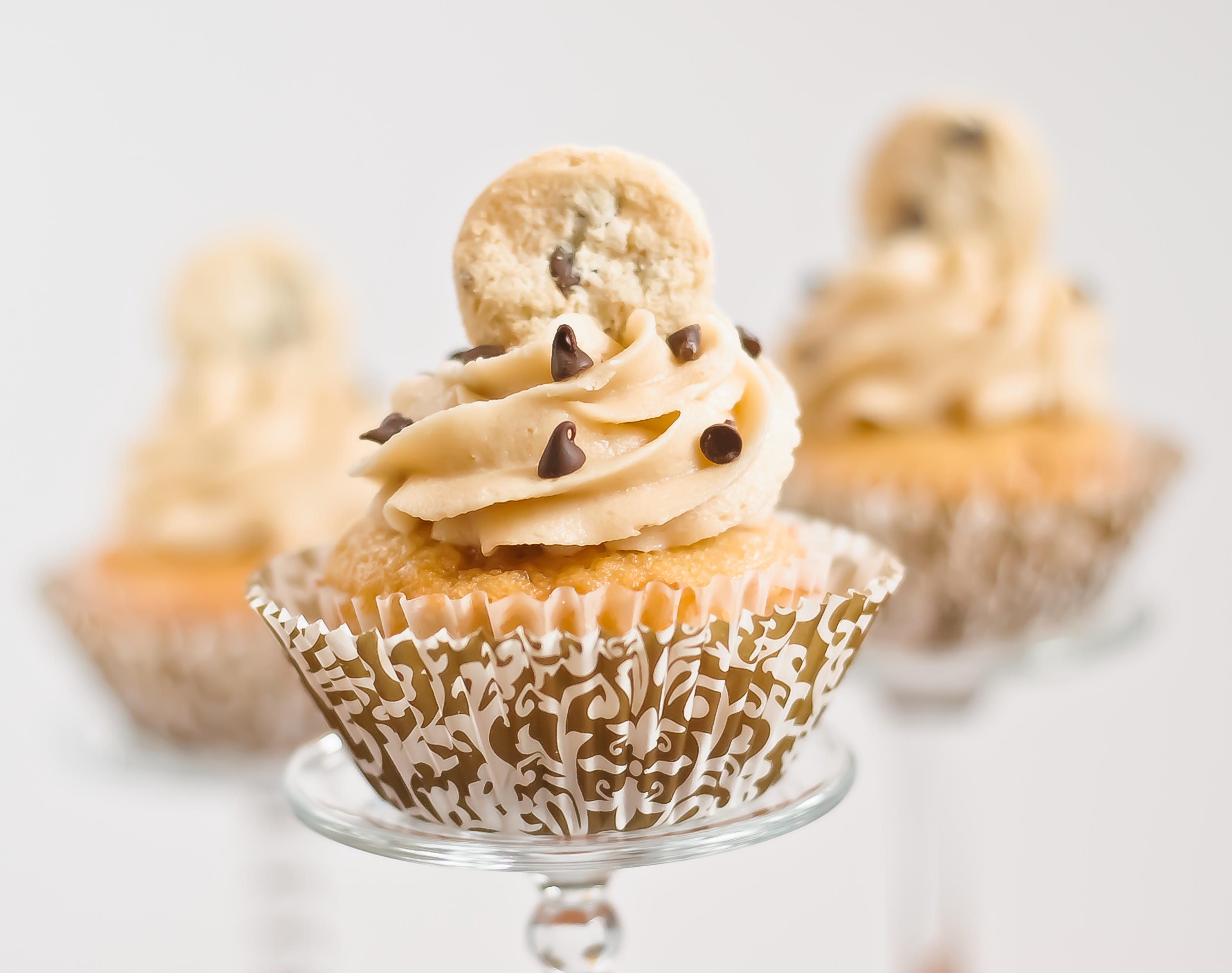 Chocolate Chip Cookie Dough Cupcakes - Baked In
