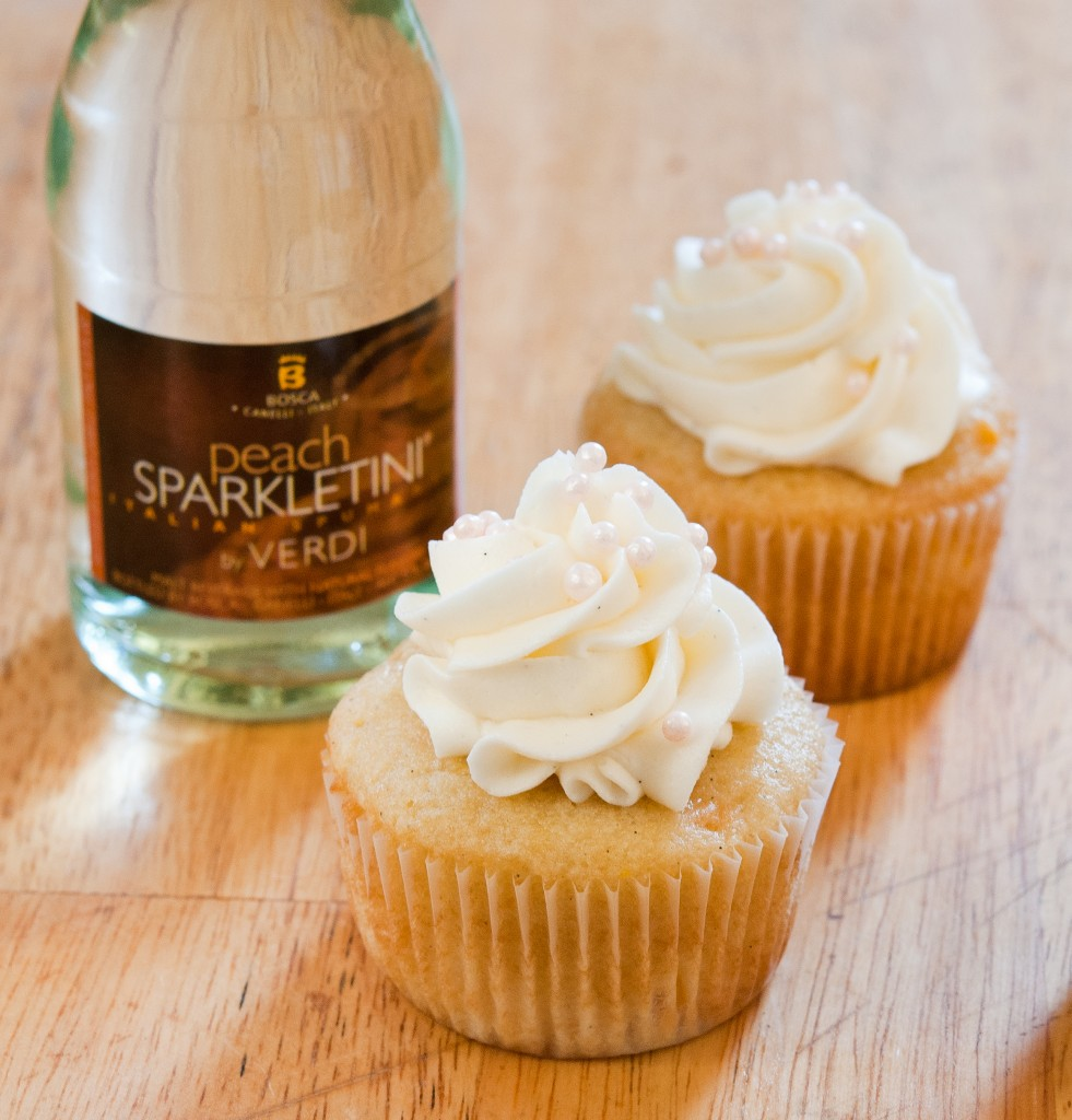 Peach Bellini Cupcakes - Baked In