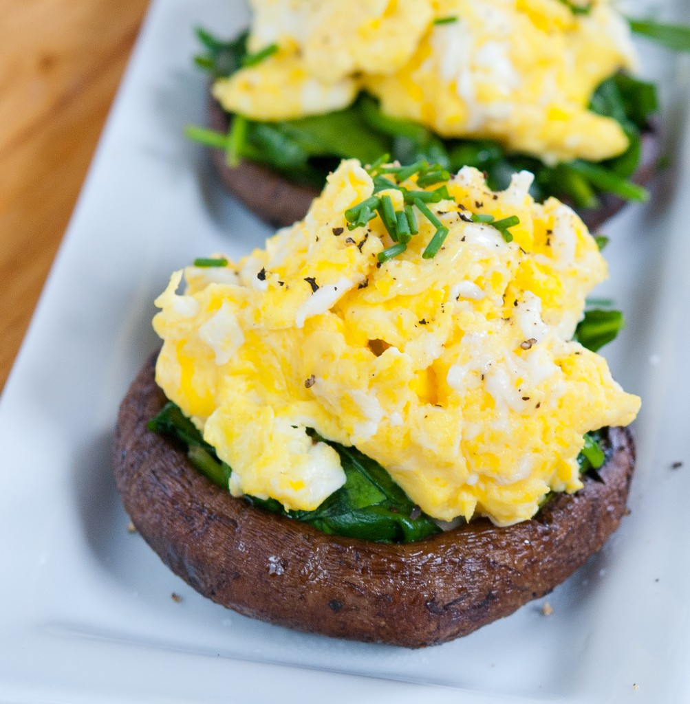 Scrambled Egg Stuffed Portabellos - Baked In