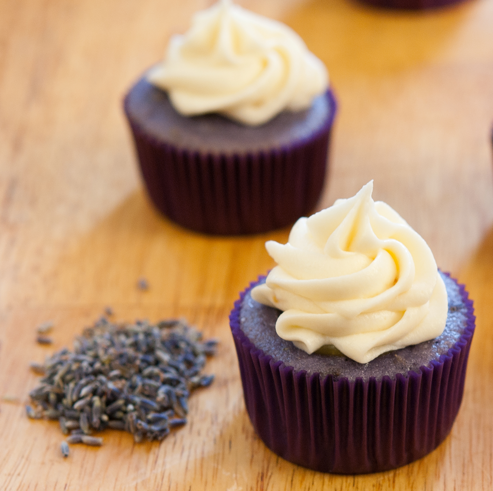 Lavender-Lemon Cupcakes with Honey Cream Cheese Frosting - Baked In
