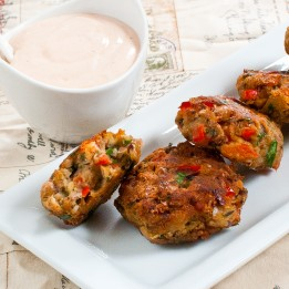 Black-Eyed Pea Fritters With Honey-Sriracha Dipping Sauce
