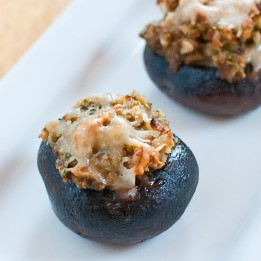 Almond Stuffed Mushrooms with Gruyere