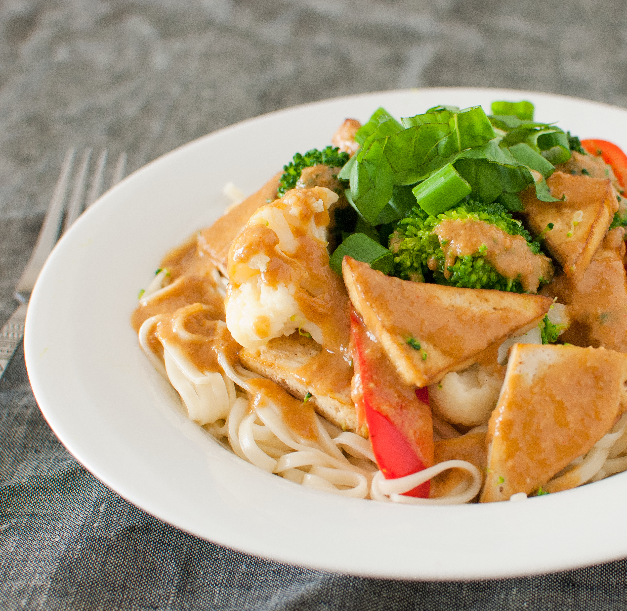 Tofu With Thai Peanut Sauce Baked In