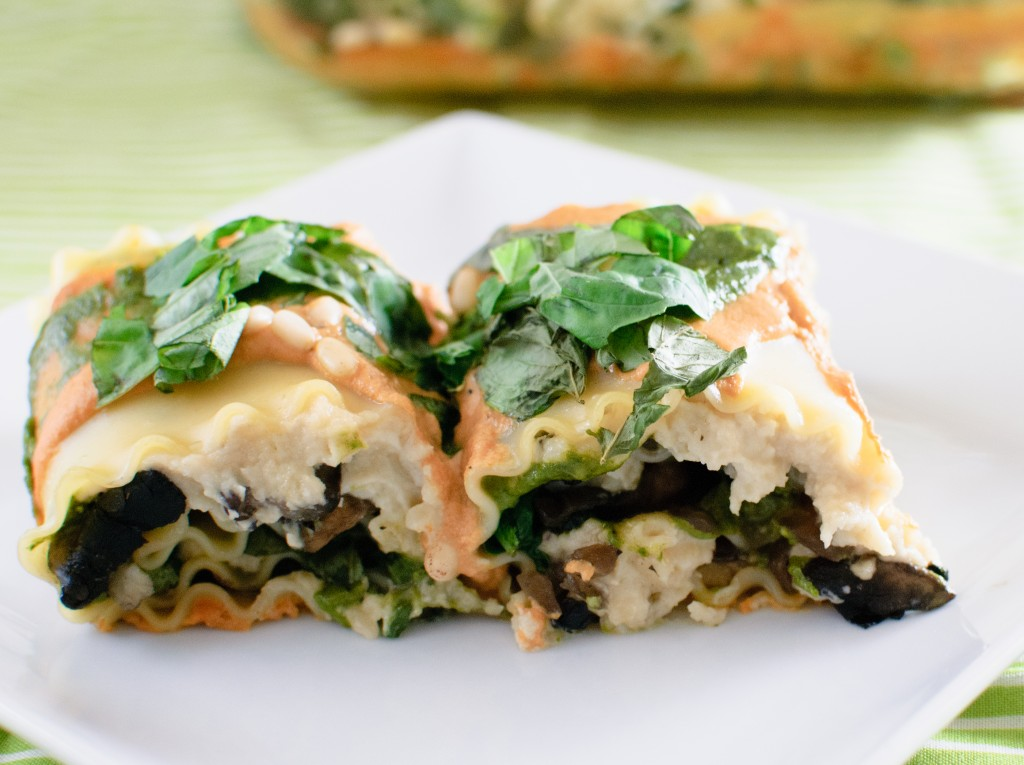 Vegan Spinach and Mushroom Lasagna Rolls