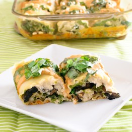 Vegan Spinach & Mushroom Lasagna Rolls with Sun-dried Tomato Cream Sauce
