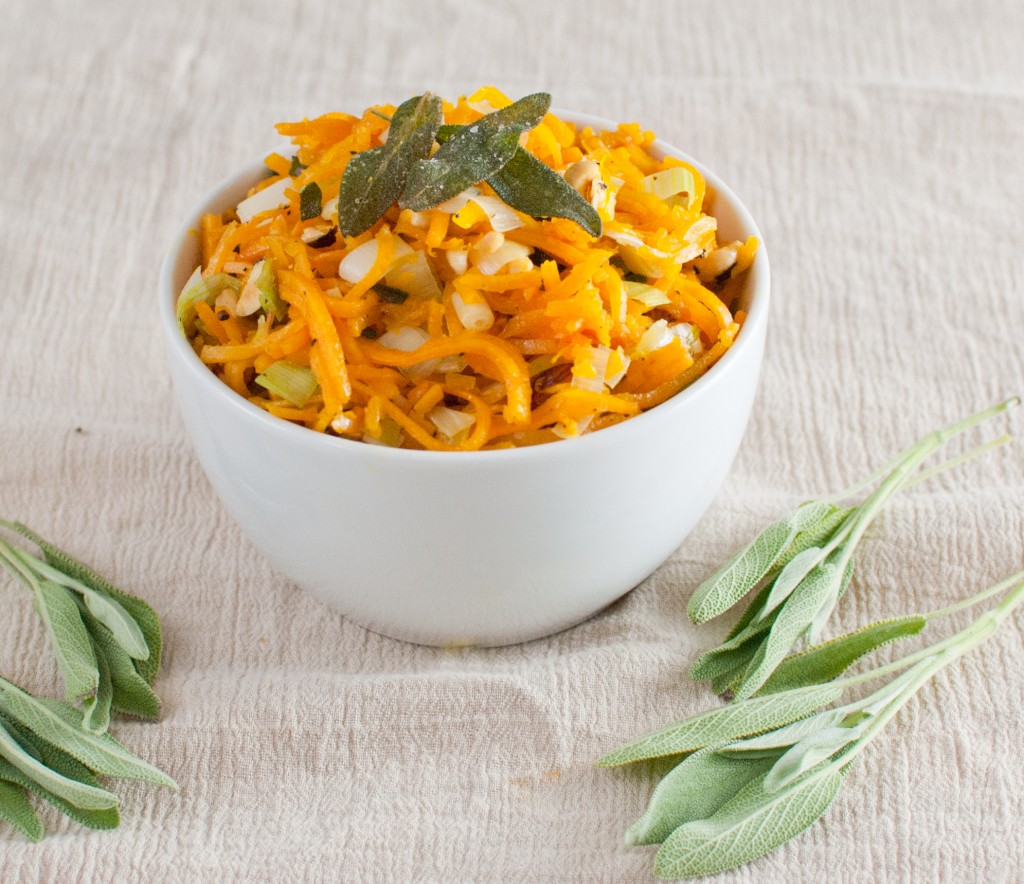 Butternut Squash Noodles with Leeks and Toasted Hazelnuts